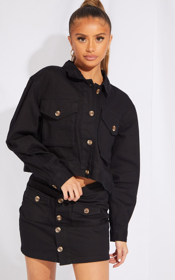 Petite Black Oversized Denim Trucker Jacket 1