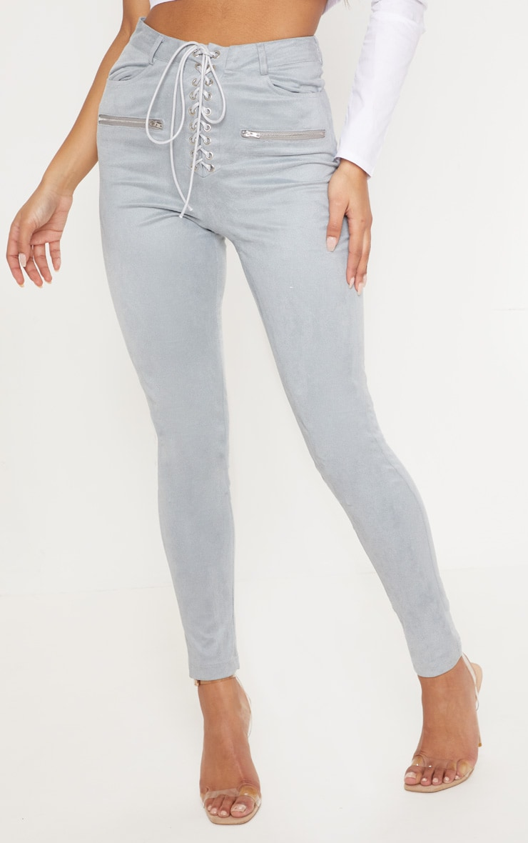 Grey Faux Suede Lace Up Front Skinny Leg Trouser 2