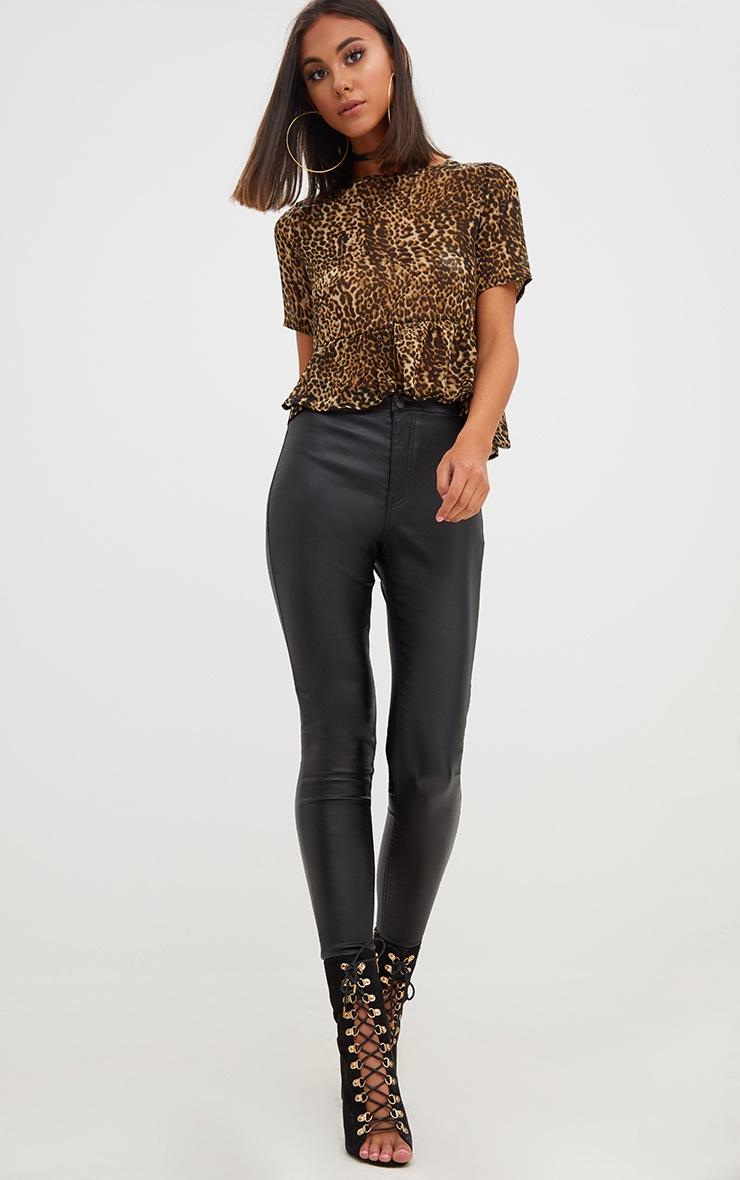 Tan Leopard Print Mesh Frill Sleeve T Shirt 4
