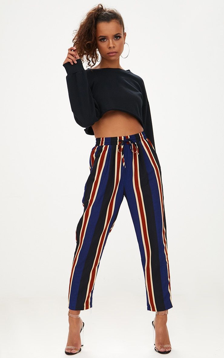 Petite Navy Stripe Casual Trousers 1