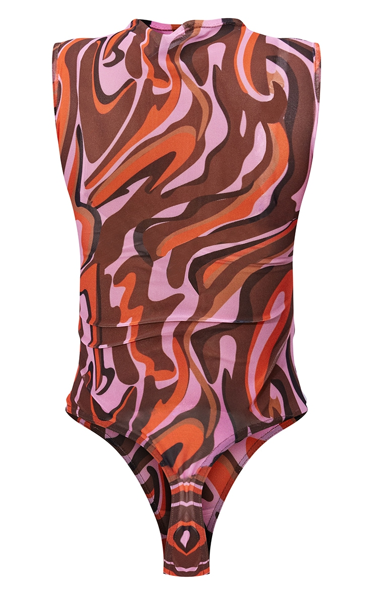 Pink Abstract Wave Print Sleeveless Bodysuit 6