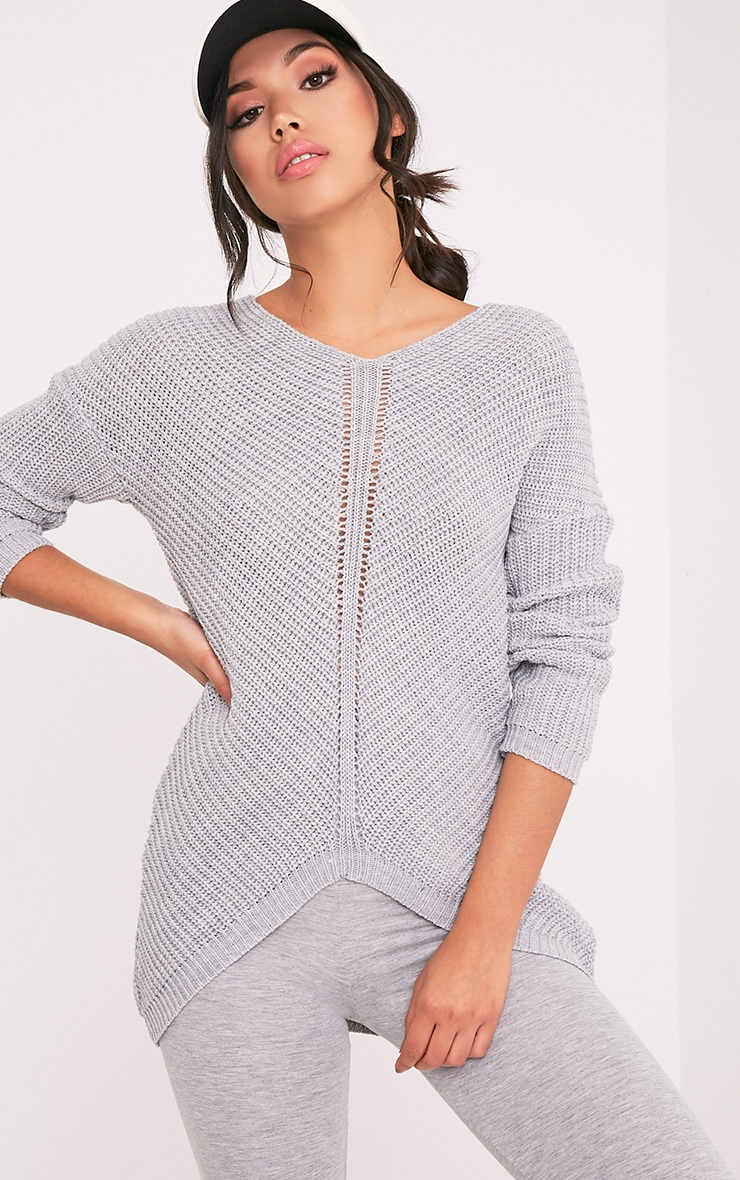 Hollilia Grey V Hem Jumper 1