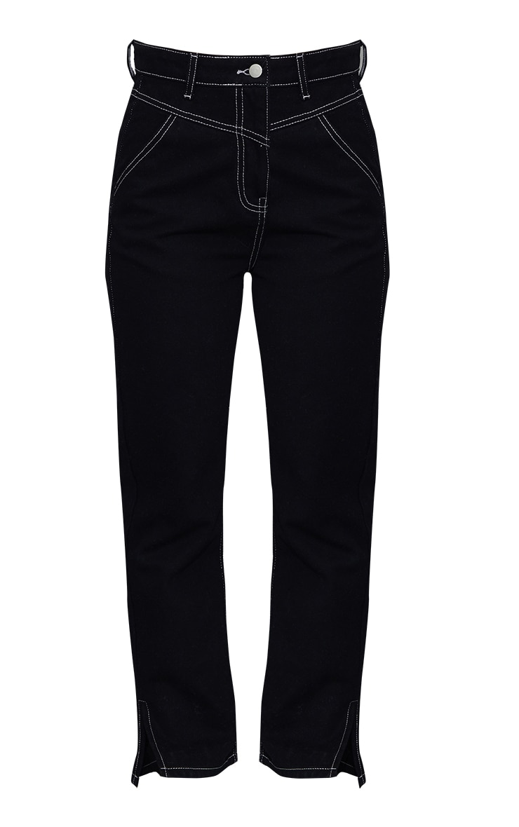 Black With White Contrast Stitch Split Hem Mom Jeans 5
