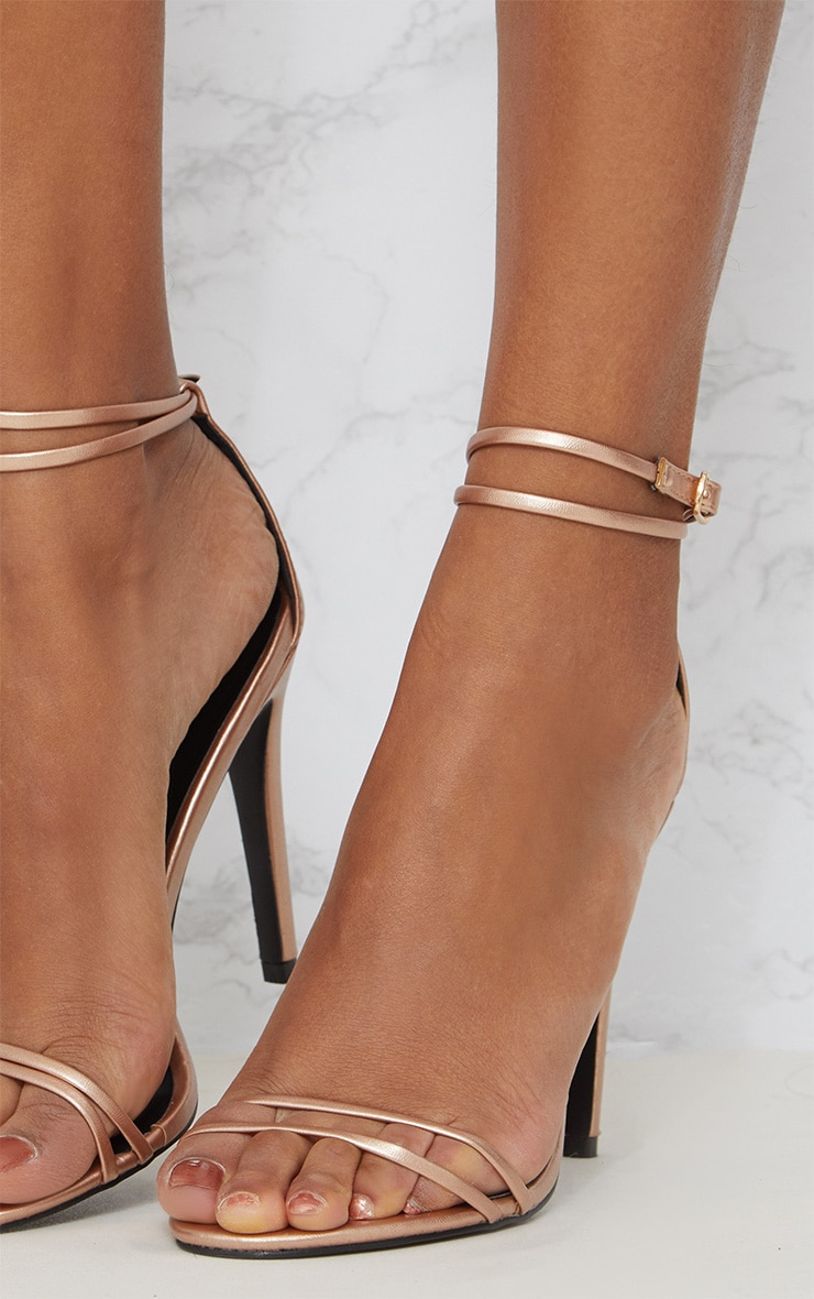 8cd4619fe766a7 Rose Gold Patent Double Strap Heeled Sandals image 4