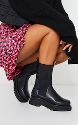 Black Calf High Chunky Quilted Panel Chelsea Boots 2