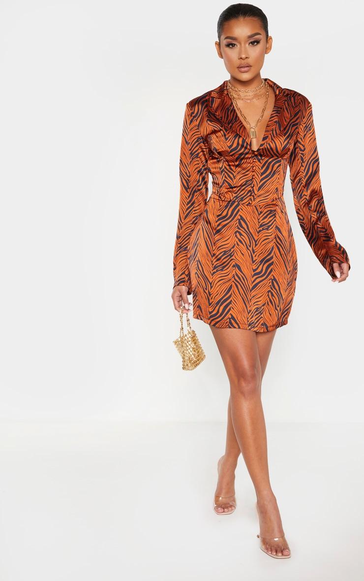 Rust Zebra Print Satin Button Corset Detail Blazer Dress 4