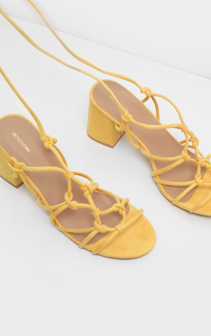 Yellow Block Heel Leg Tie Sandal 2