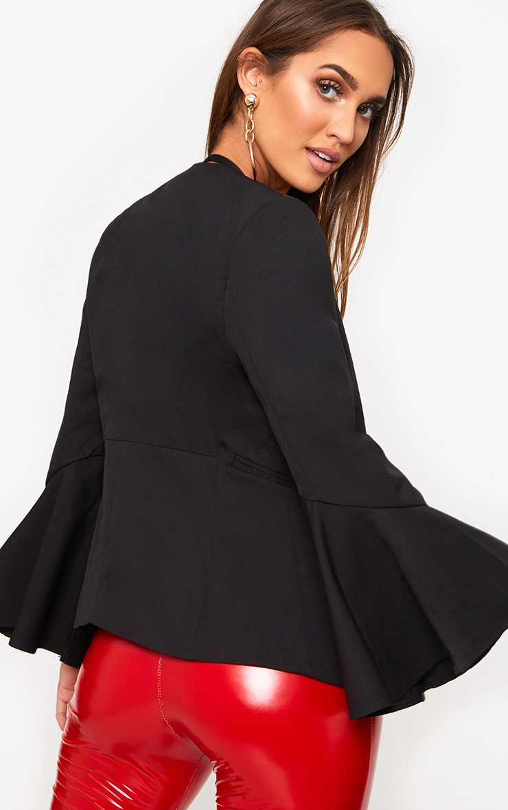 Black Flared Sleeve Blazer 2