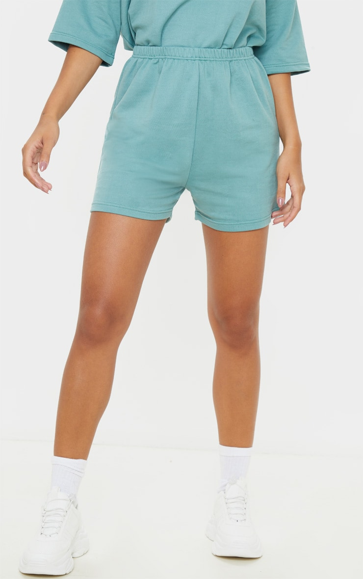 Short en sweat turquoise cendré style jogging 2