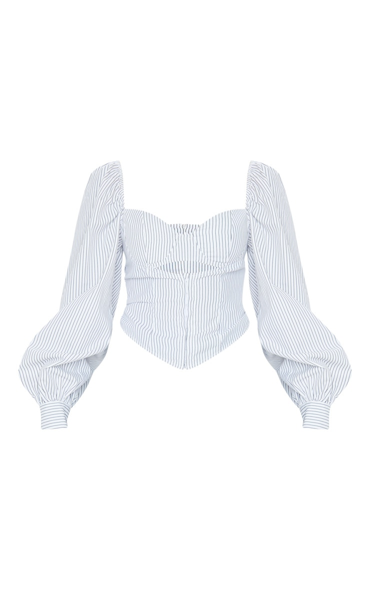 White Woven Pinstripe Cut Out Front Boned Shirt 5