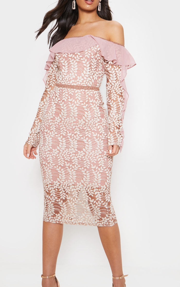 Dusty Pink Bardot Lace Frill Sleeve Midi Dress 5