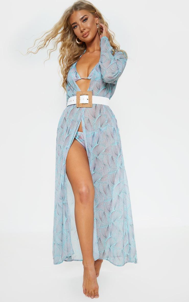 Mint Geo Print Beach Kimono  1