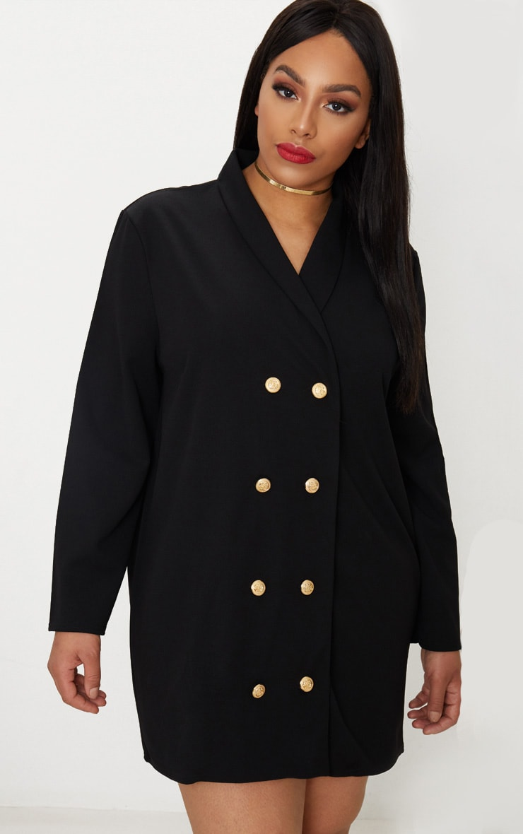 Plus Black Gold Button Oversized Blazer Dress 1