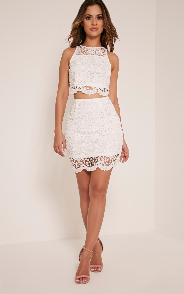 Millicent White Crochet Lace Crop Top 5