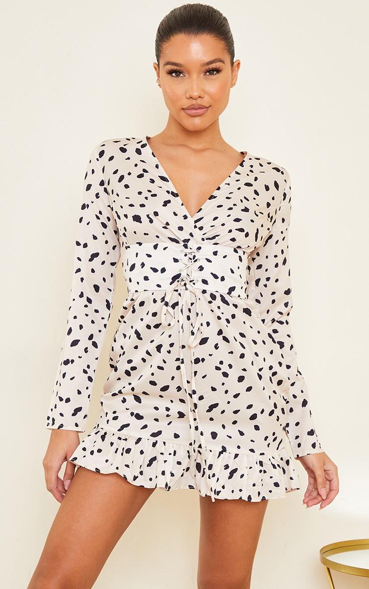 Cream Dalmatian Print Corset Long Sleeve Swing Dress 4