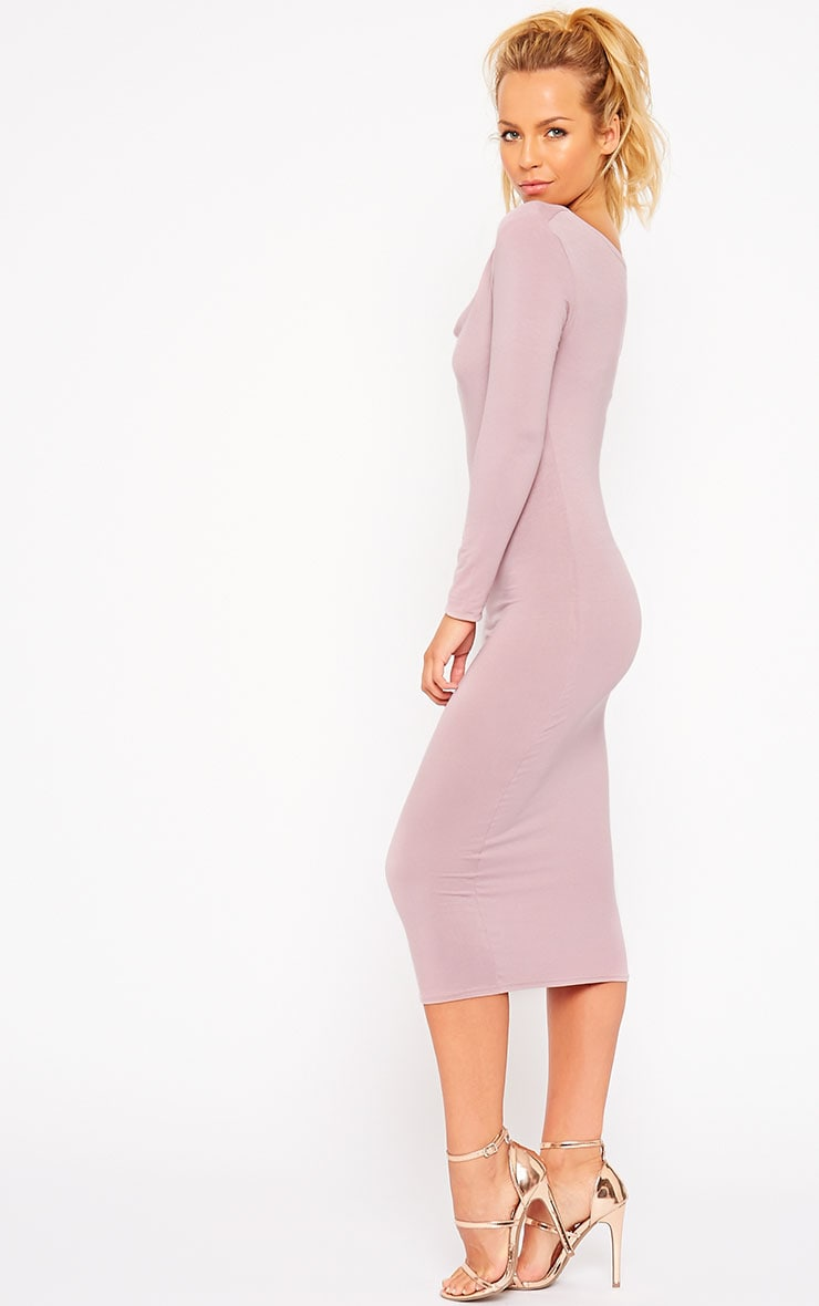 Lise Mauve Jersey Cowl Neck Midi Dress 4