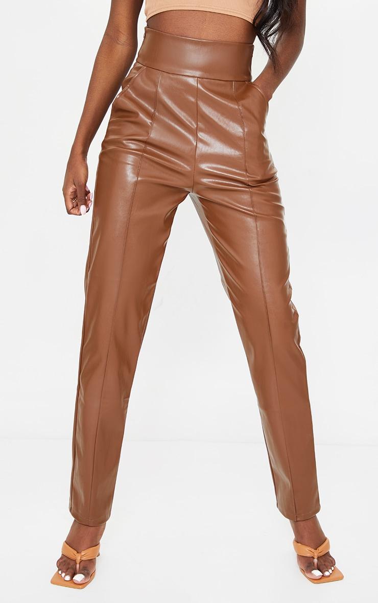 Tall Tan High Waisted Seam Detail PU Pants 2