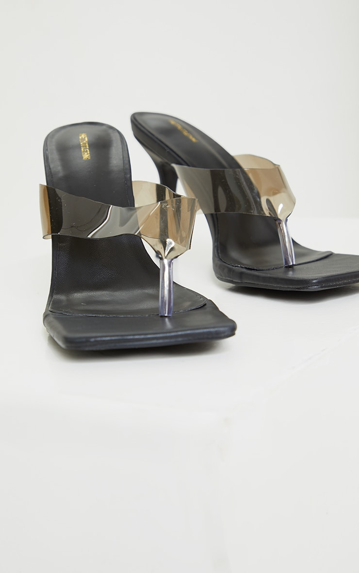 Clear Smoked Toe Thong High Heeled Mules 3