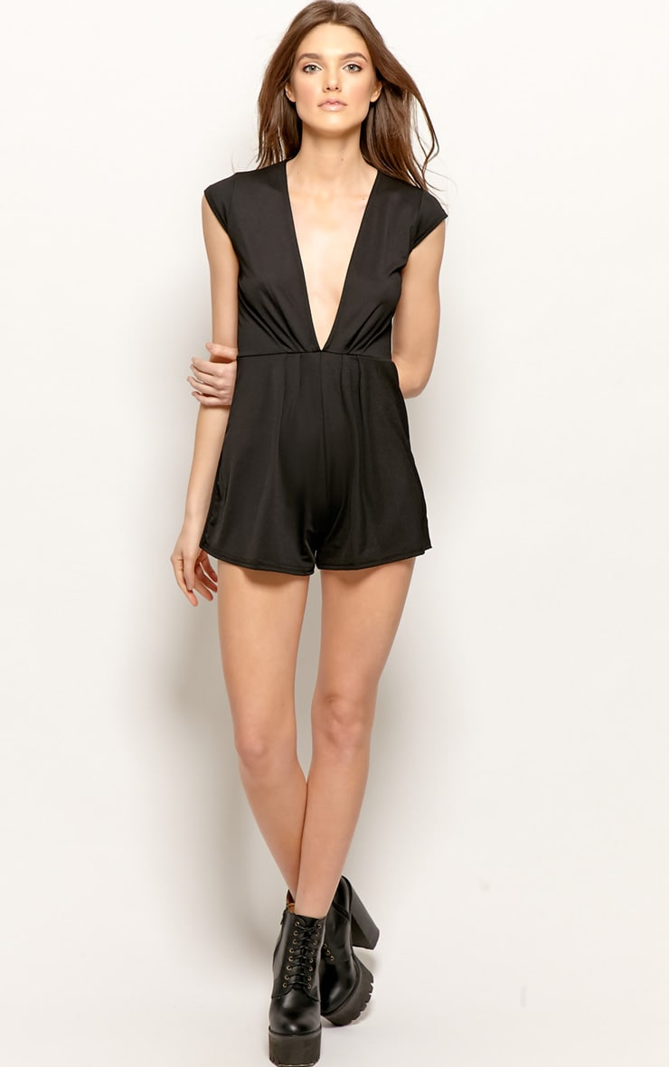 Allie Black V Neck Playsuit 4