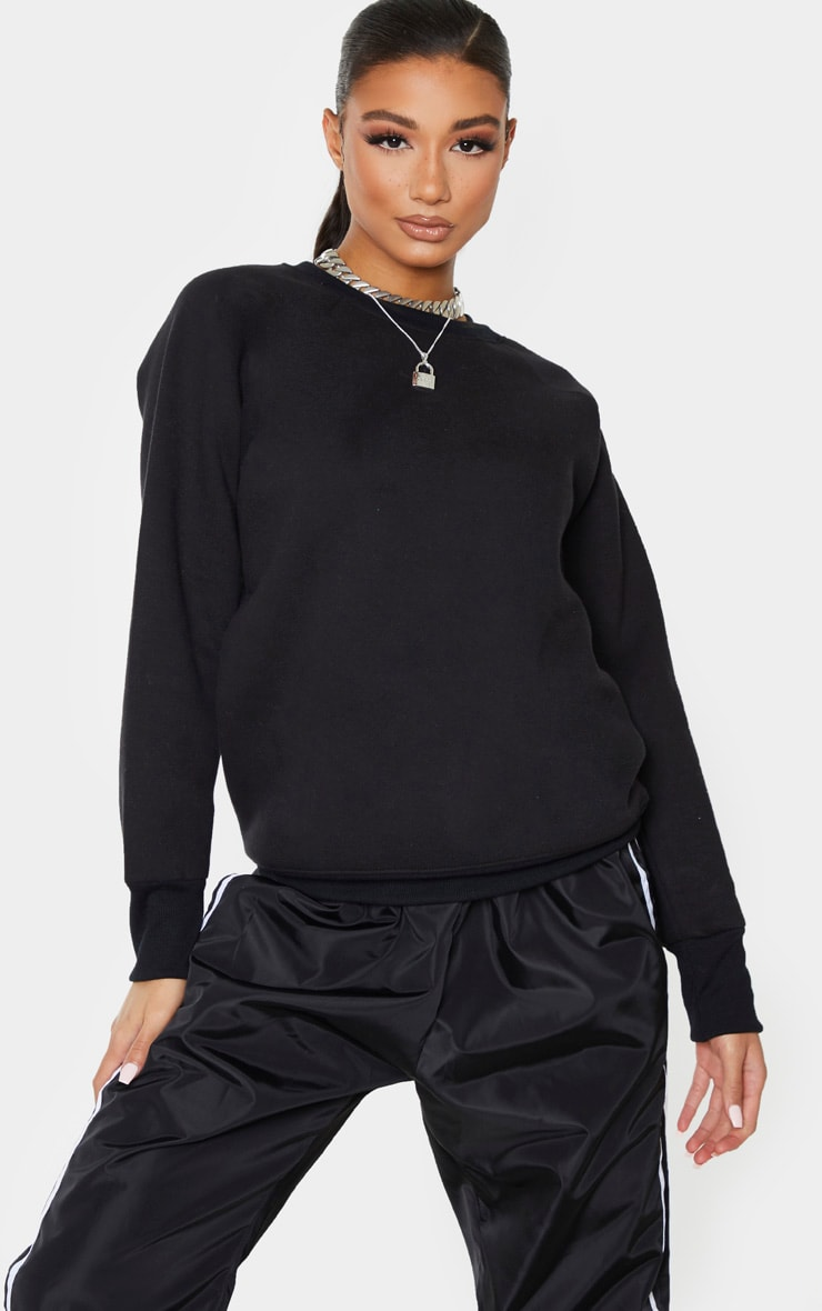 Black Basic Crew Neck Sweater 1