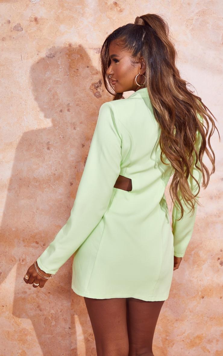 Lime Shoulder Pad Waist Cut Out Long Sleeve Blazer Dress 2