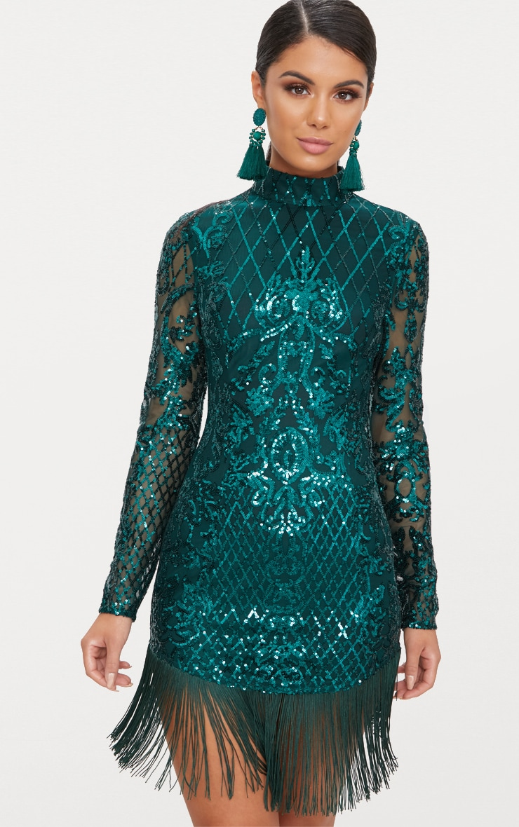 Emerald Green Sequin Long Sleeve Tassel Hem Bodycon Dress 1