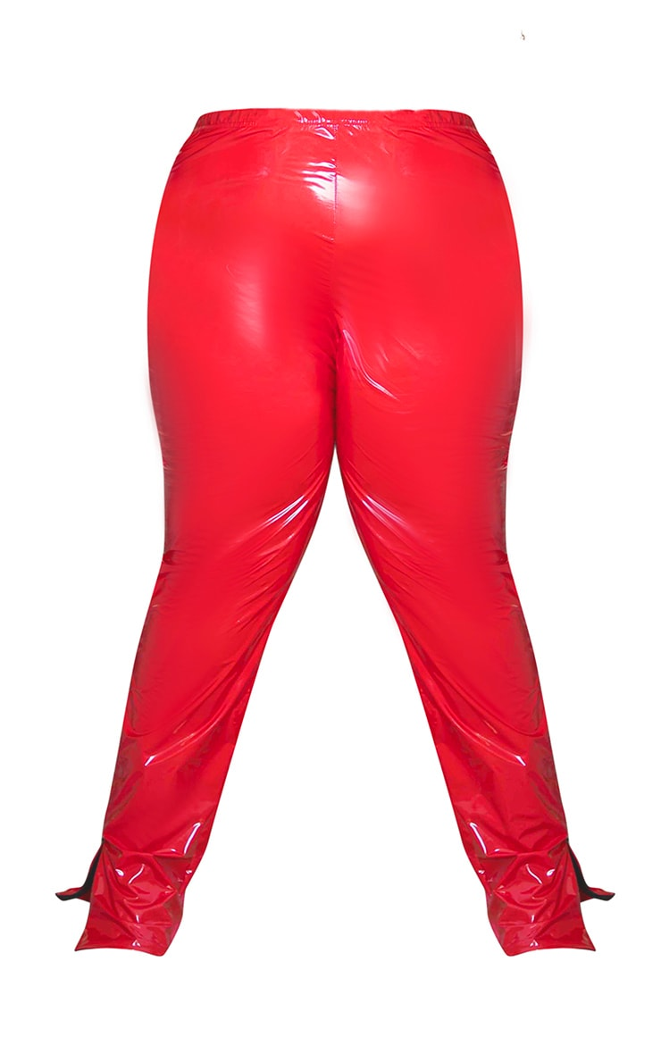 Plus Red Vinyl High Waisted Leggings 5