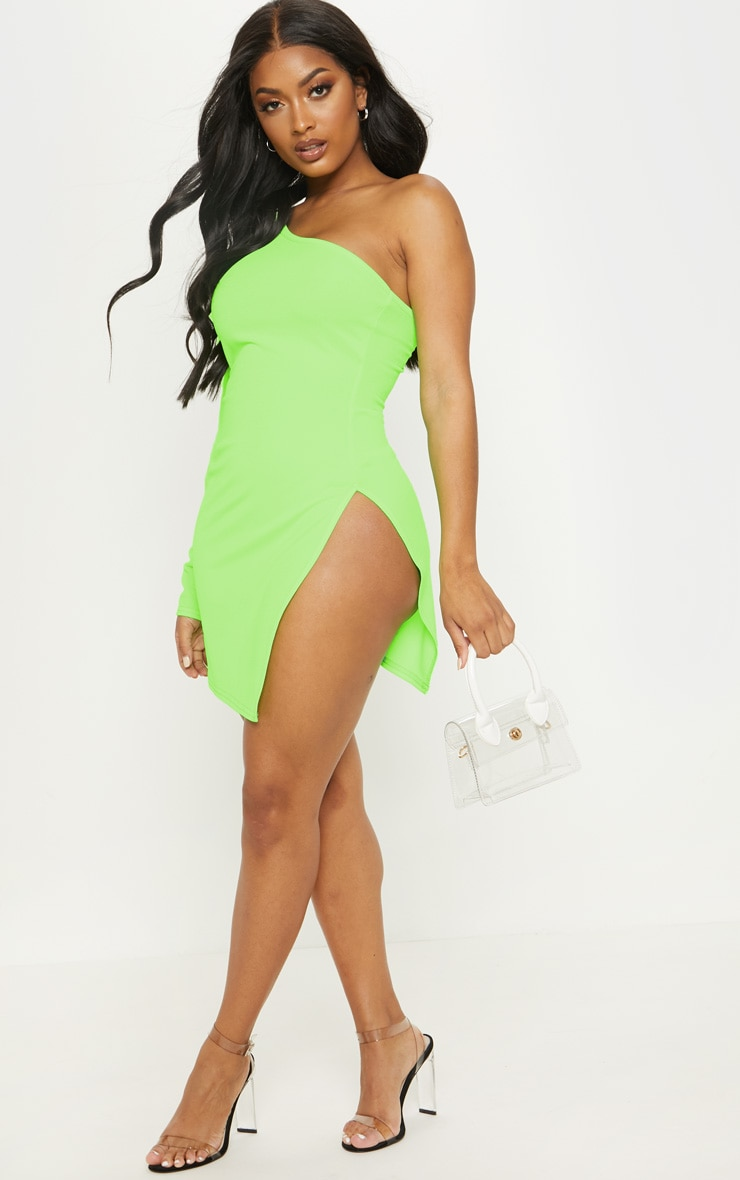 Shape Neon Lime One Shoulder Split Bodycon Dress 5