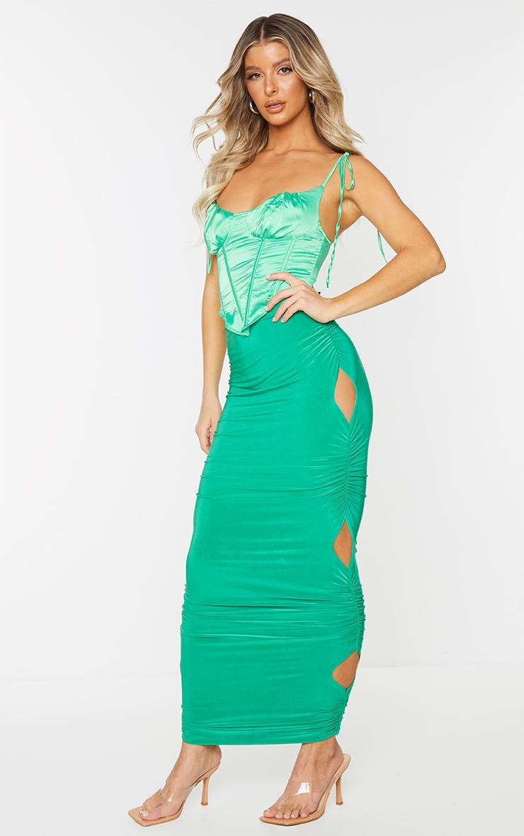 Green Slinky Cut Out Maxi Skirt 1