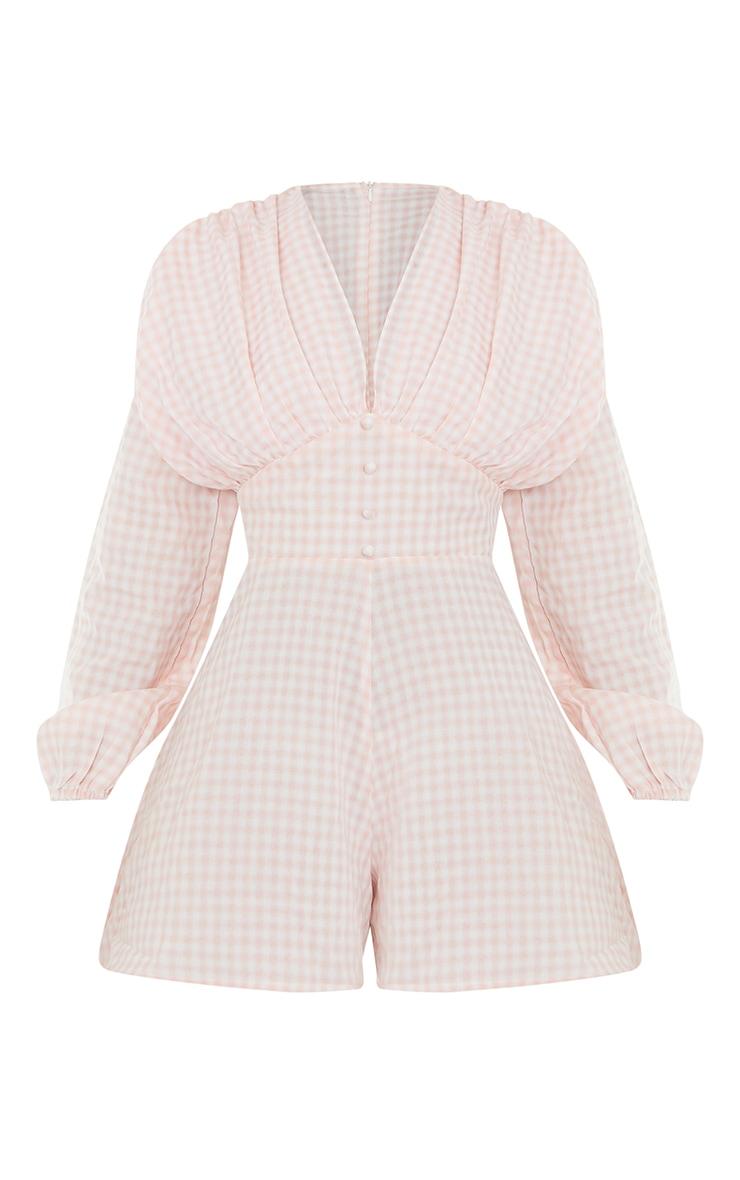 Pink Gingham Ruched Shoulder Button Front Playsuit 5