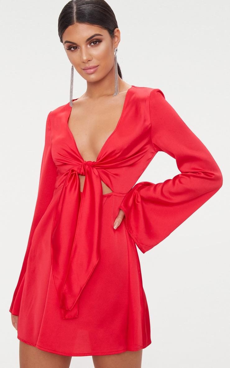 Red Satin Flare Sleeve Knot Detail Plunge Skater Dress 1
