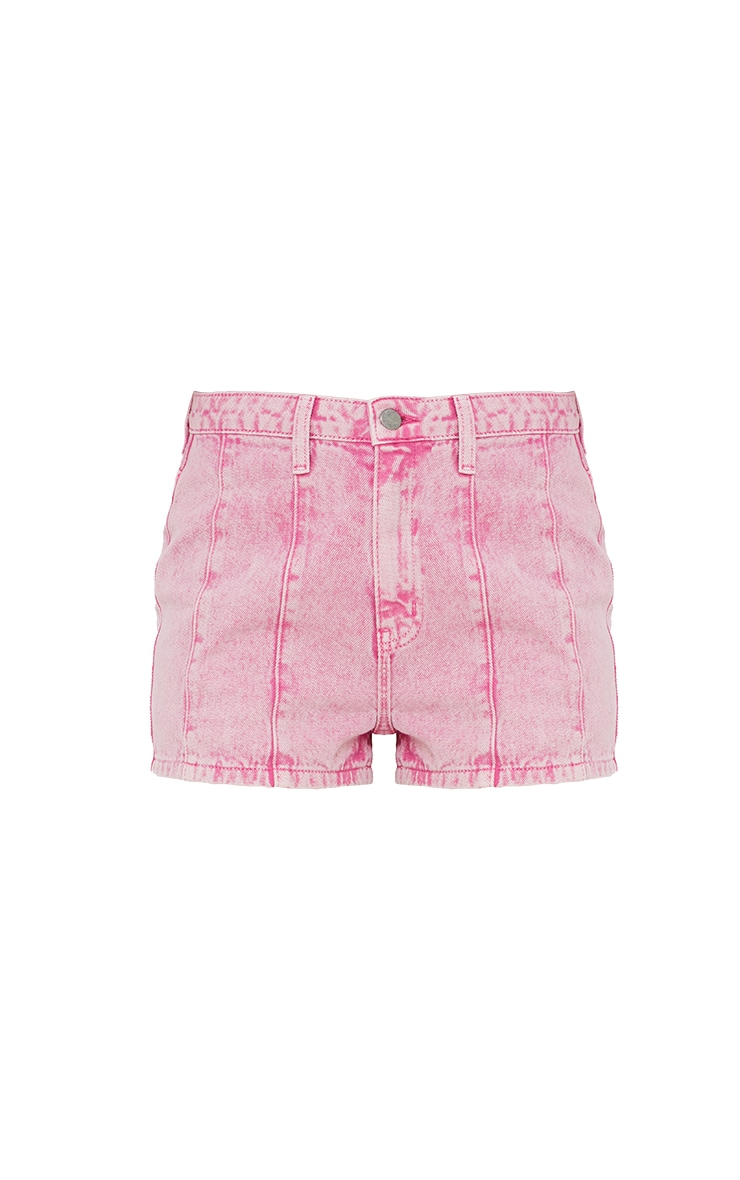 Pink Acid Seam Detail Denim Shorts 6