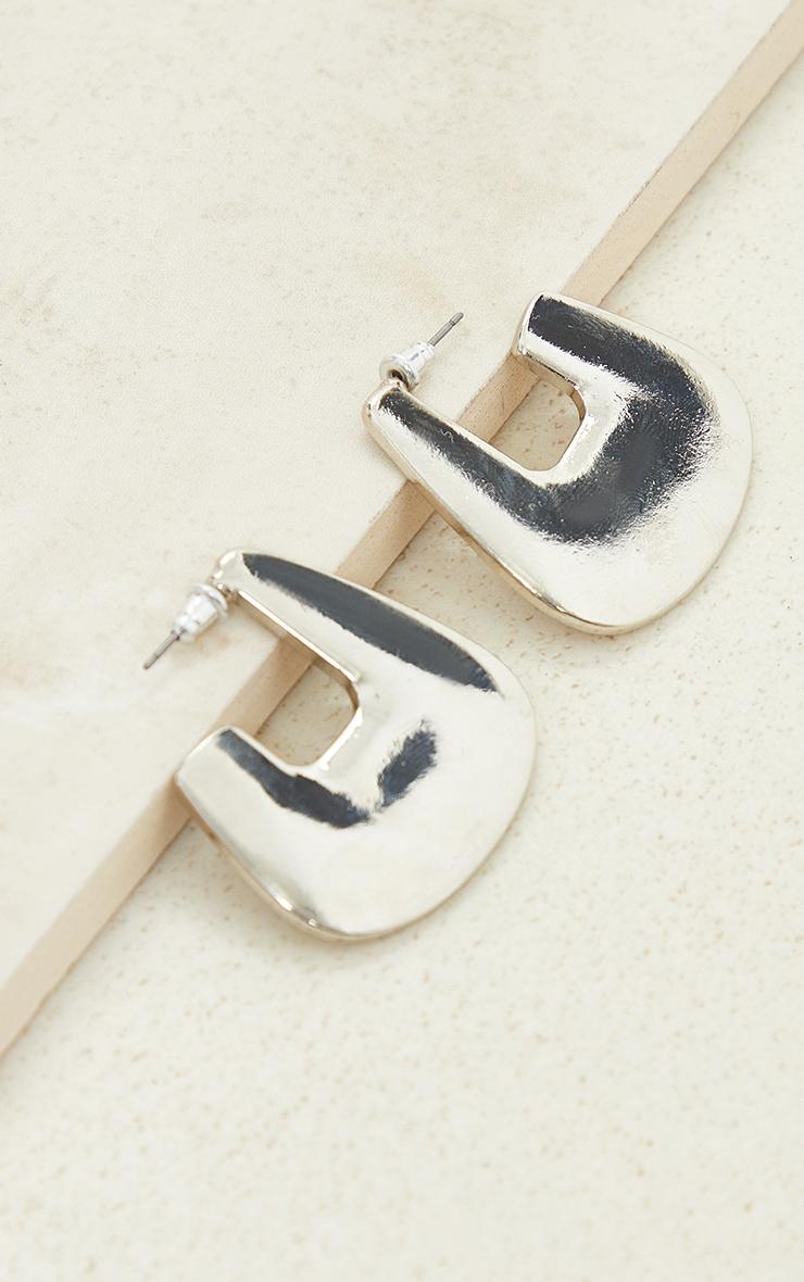Silver Oval Small Hoop Earrings 3