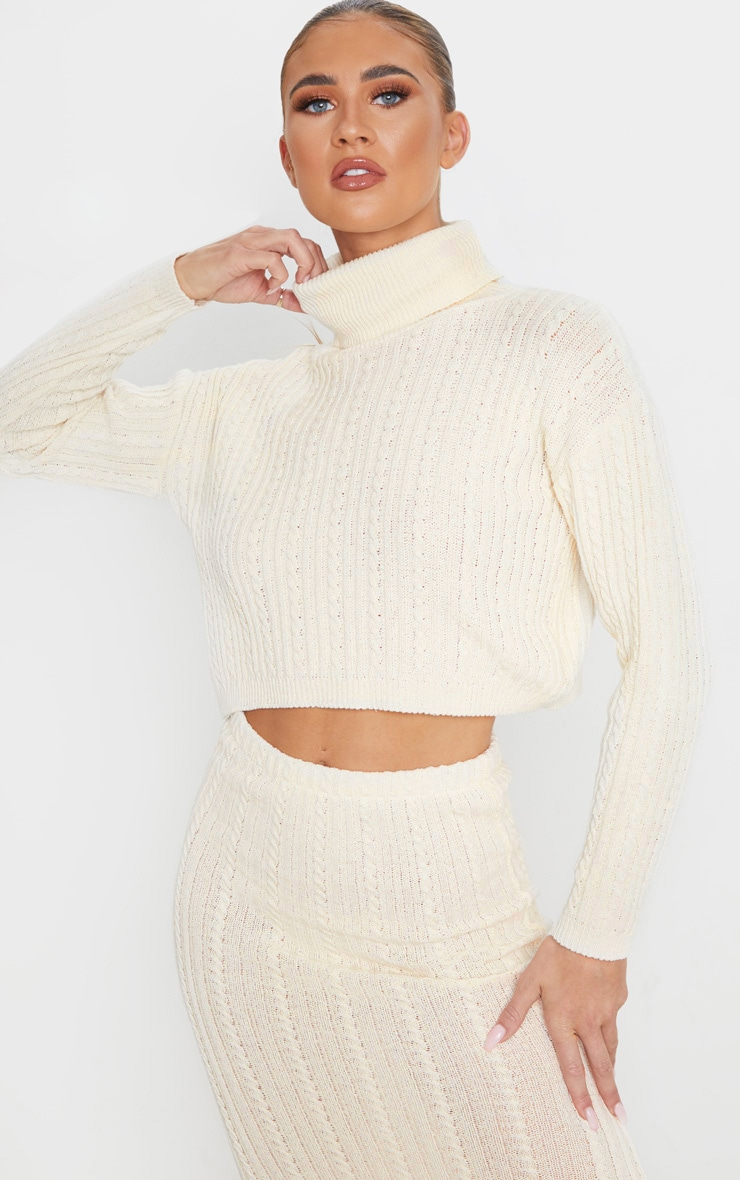 Cream Roll Neck Cable Knit Cropped Sweater 1