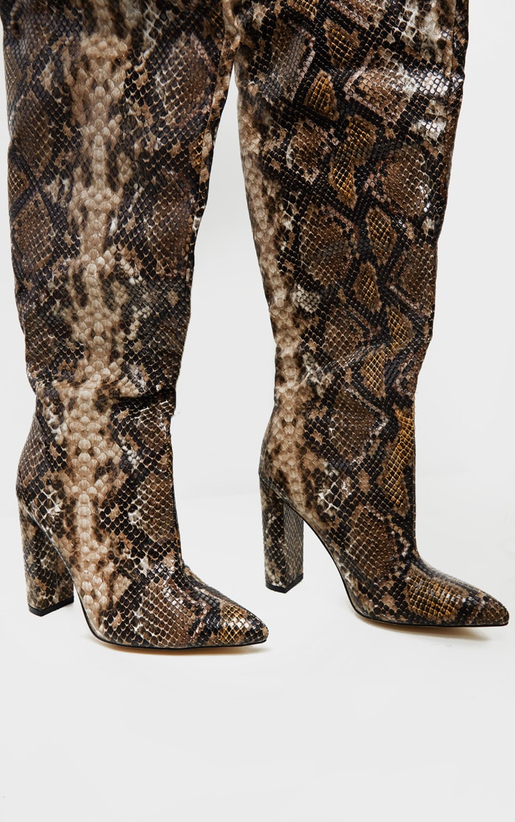 Snake Thigh High Point Block Heel Boot 4