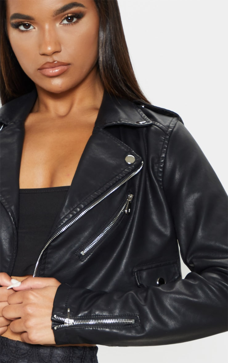 Black Cropped PU Biker Jacket With Zips 5