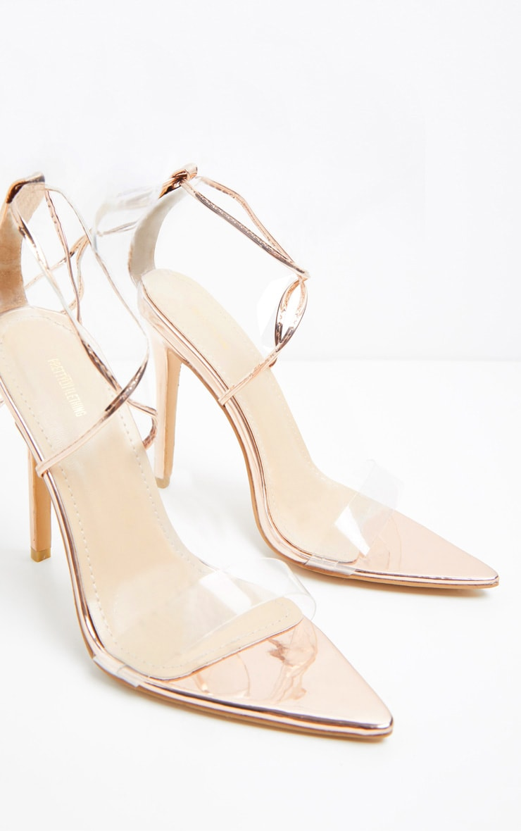 Rose Gold Clear Strap Point Toe Barely There Sandal 3