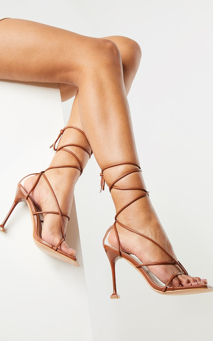 Chocolate Square Toe Strappy Lace Up Toe Thong High Heels Sandals 1