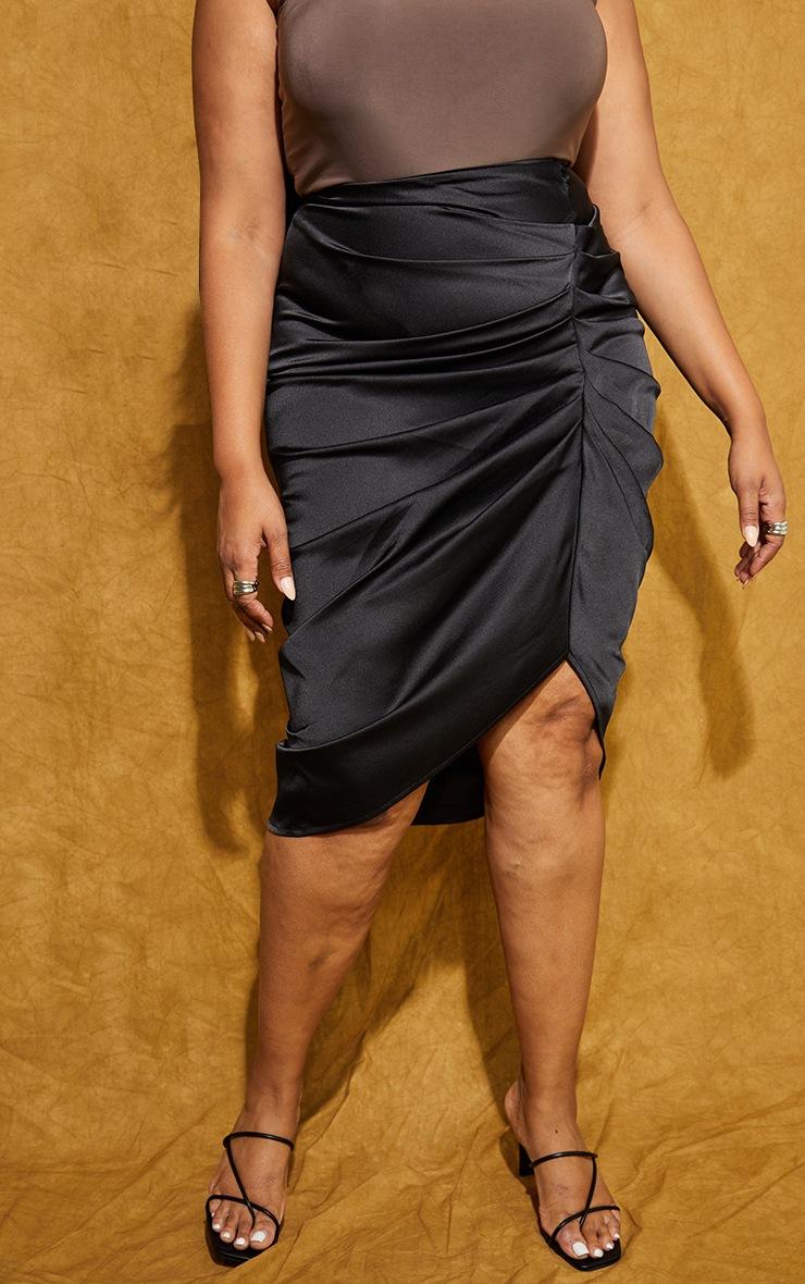 Plus Black Satin Ruched Split Midi Skirt 2