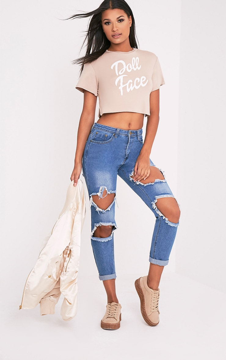 Doll Face Slogan Nude Cropped T Shirt 5