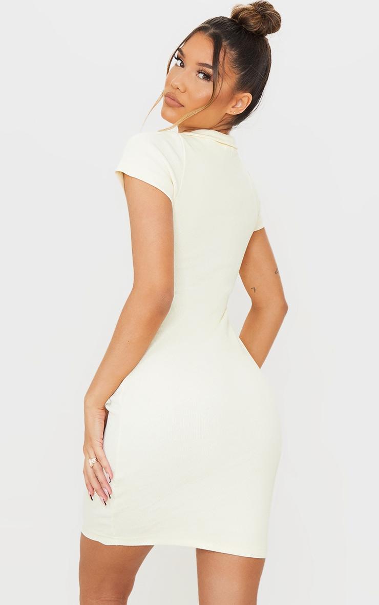 Cream Thick Rib Zip Up Polo Collar Bodycon Dress 3