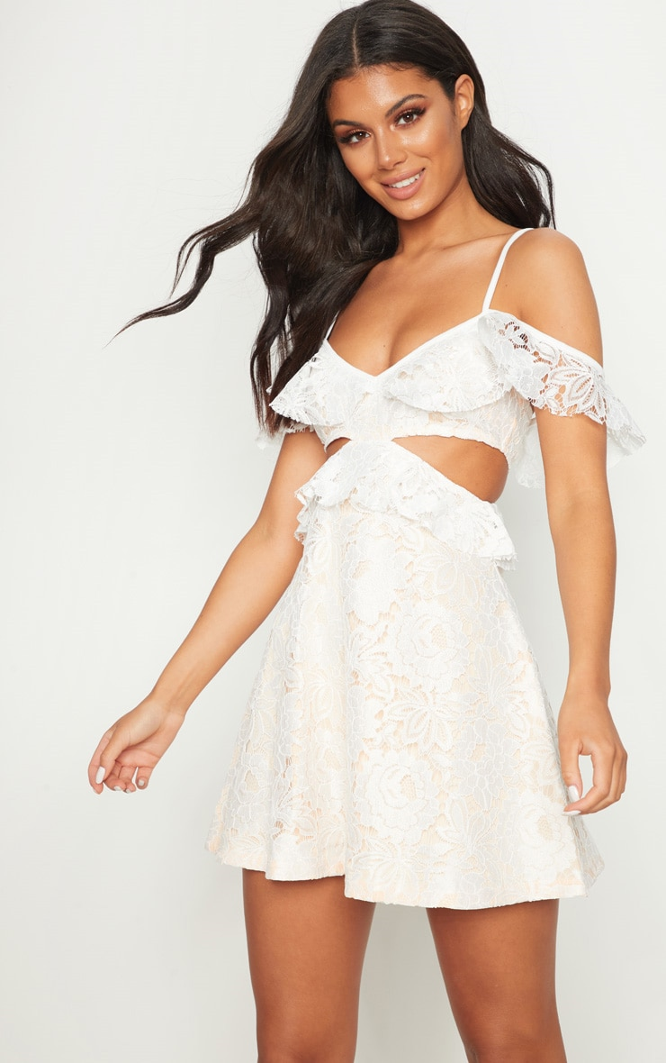 White Lace Frill Detail Cut Out Skater Dress 1