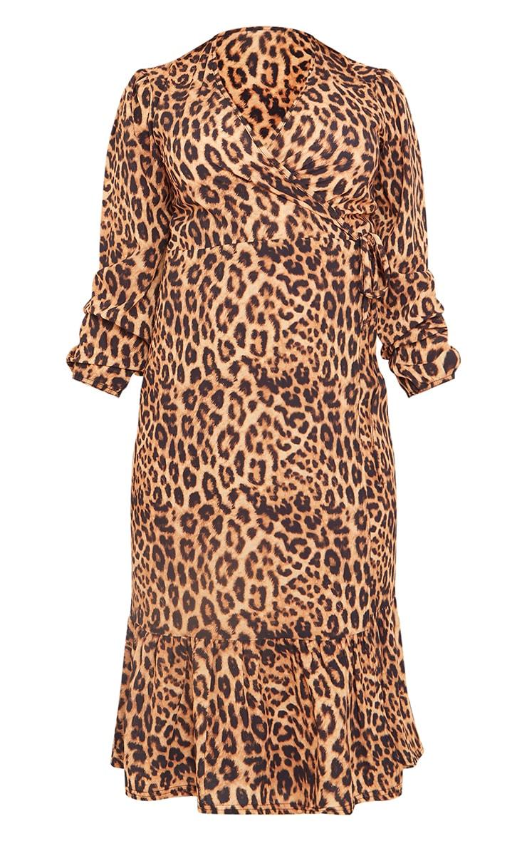 Maternity Brown Wrap Leopard Printed Midi Dress 5