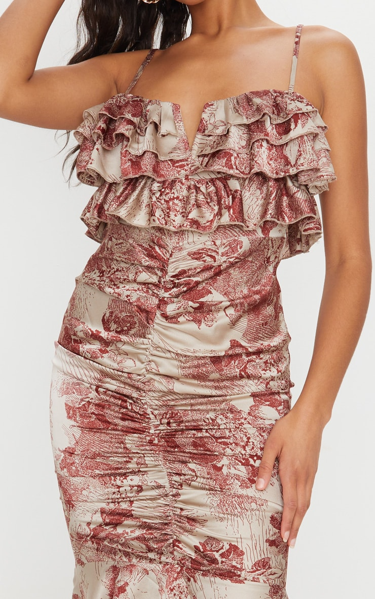Burgundy Floral Ruffle Detail Gathered Front Midi Dress 4