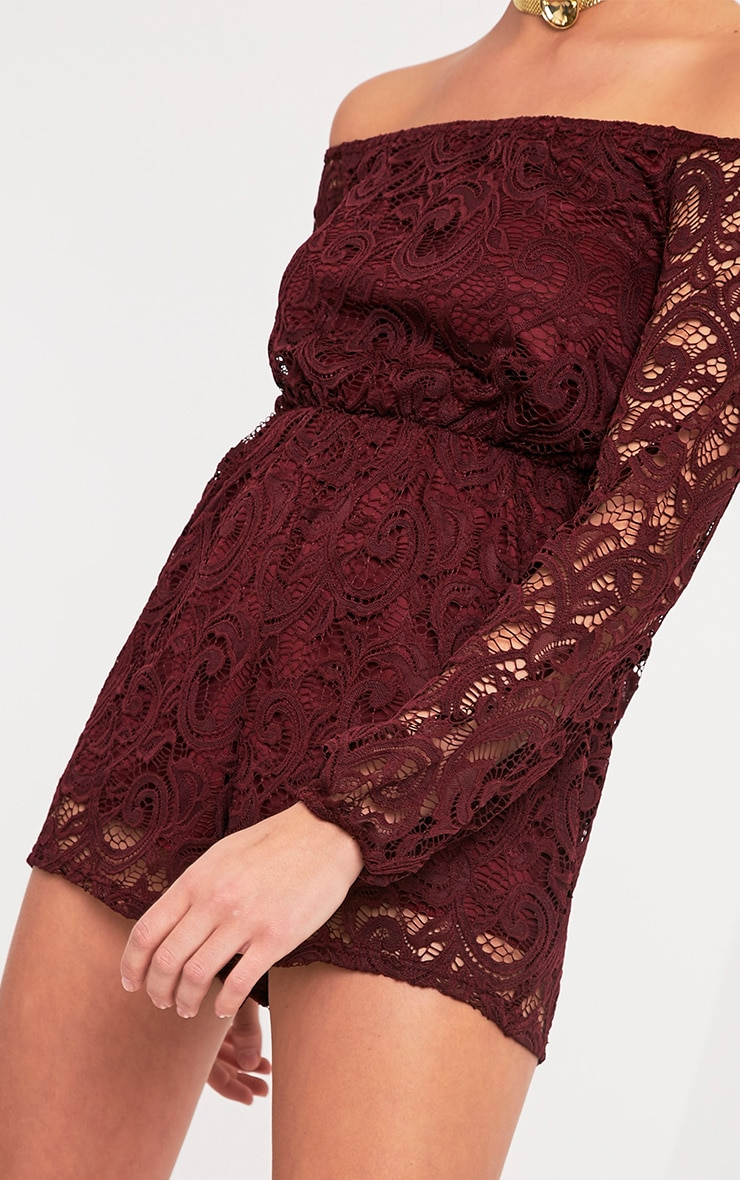 Ellora Burgundy Lace Bardot Long Sleeve Playsuit 6