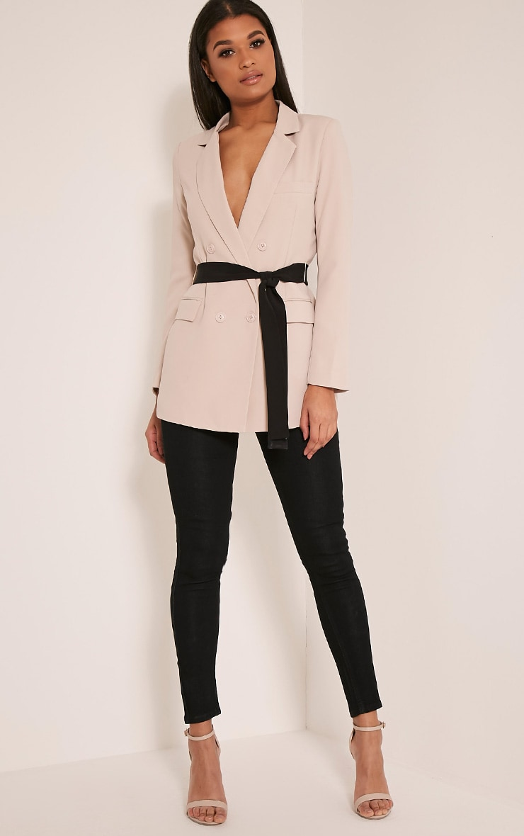 Rebecca Stone Contrast Belted Blazer 5