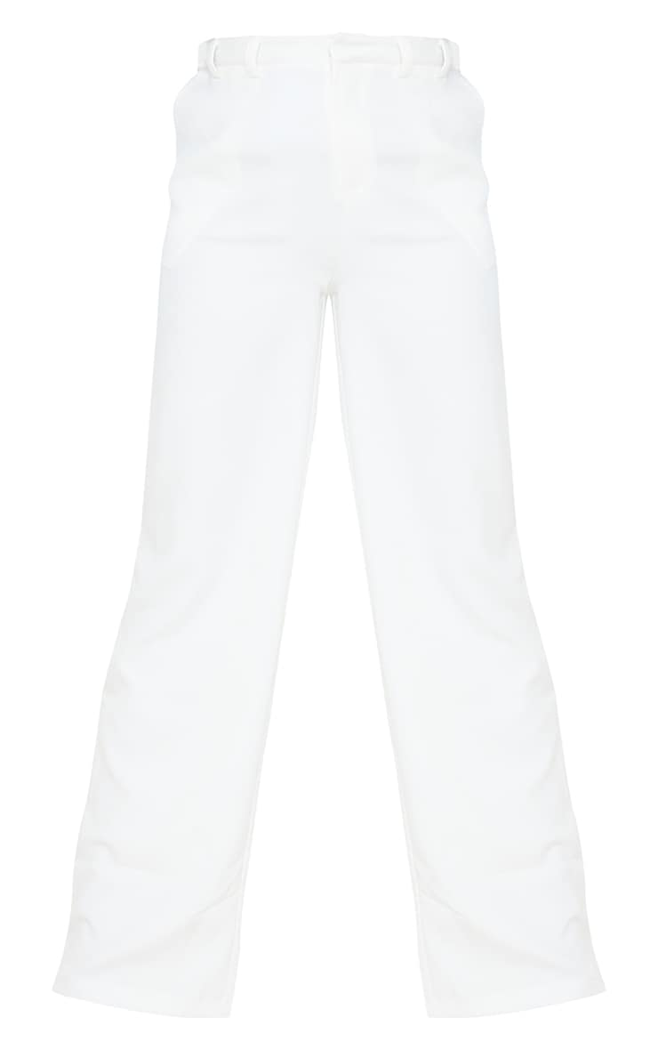 Tall White Wide Leg Dad Trousers 5