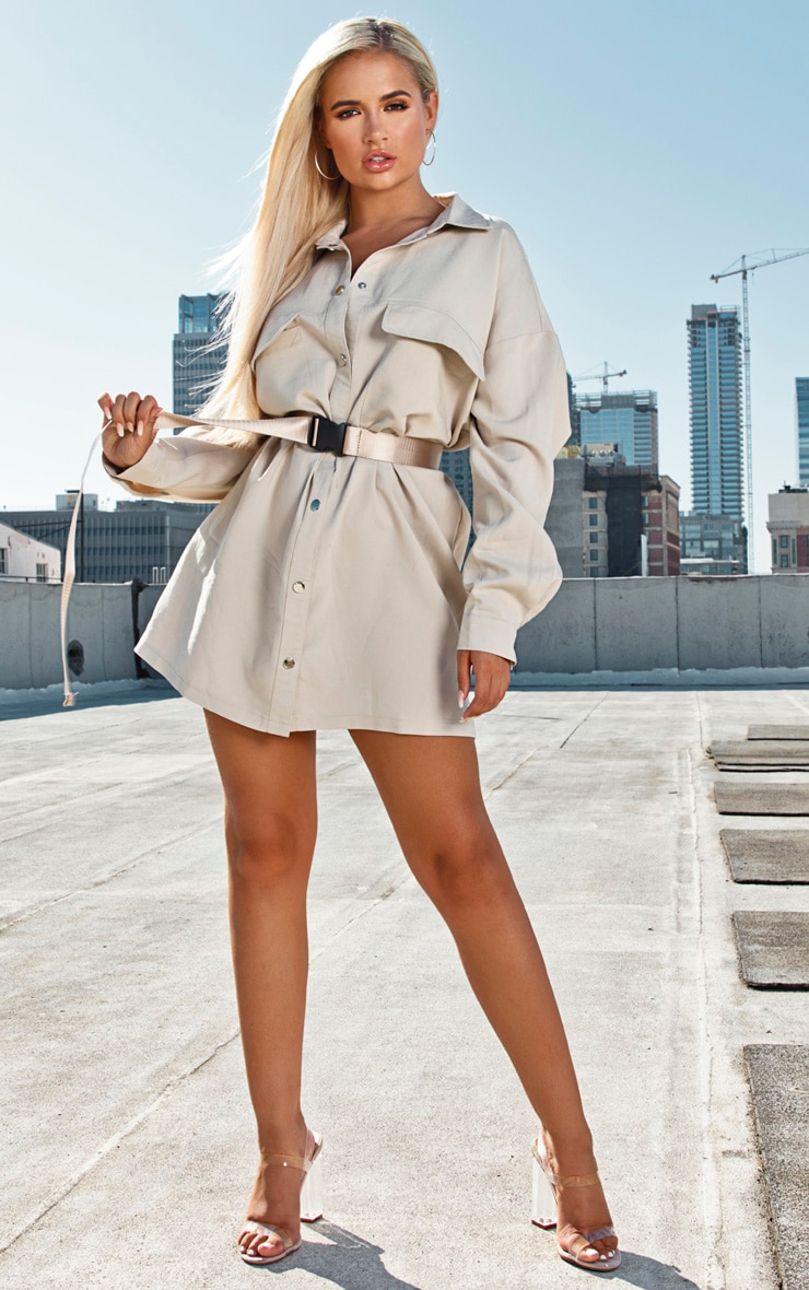 Stone Cargo Oversized Popper Front Shirt Dress