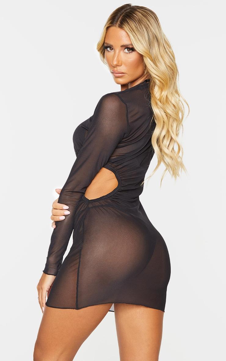 Black Long Sleeved Ruched Side Mini Mesh Beach Dress 2