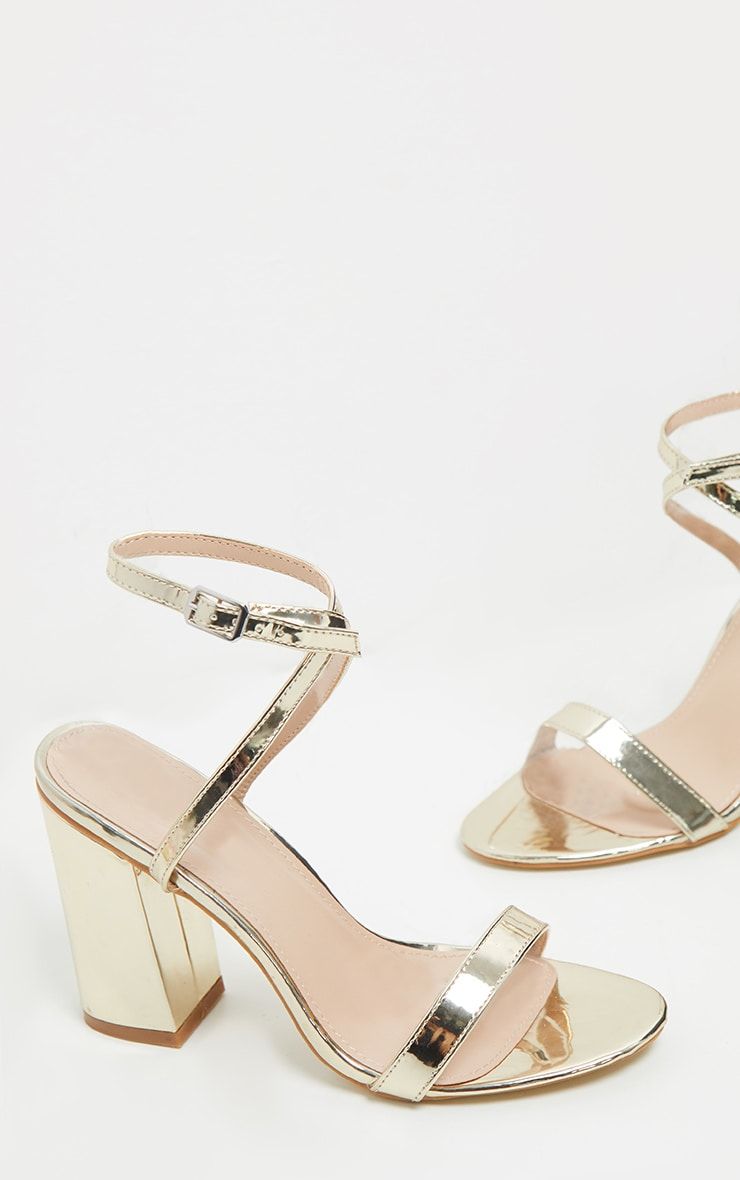 Gold Ankle Strap Block Heel 5